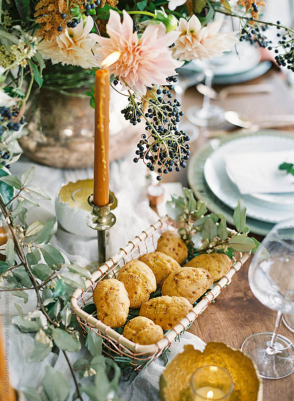 Fall table setting made for gathering  by Vicki Grafton Photography for Stocksy United