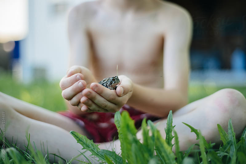 Boy plays with a toad he found in his backyard by Cara Dolan for Stocksy United