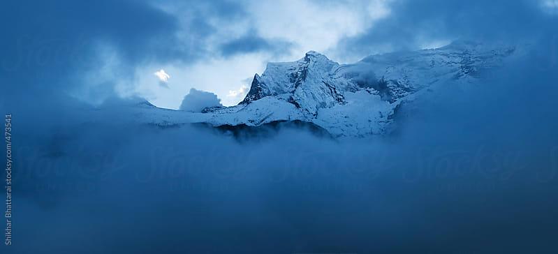 Kongde range seen from Namche Bazzar, Everest Region, Nepal. by Shikhar Bhattarai for Stocksy United