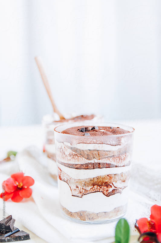 Delicious tiramisu on white background by Nataša Mandić for Stocksy United