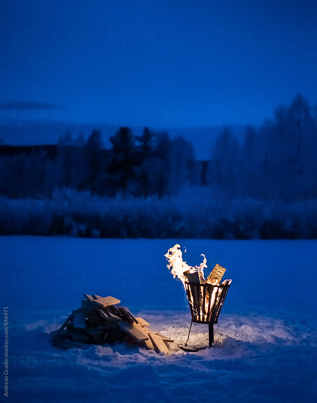 vinter bonfire by Andreas Gradin for Stocksy United