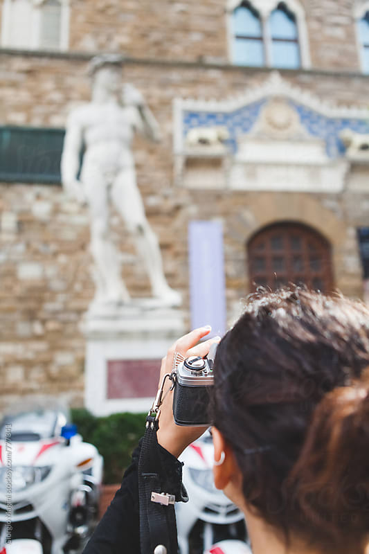 Young Woman Photographing Famous David Statue in Florence, Italy by Giorgio Magini for Stocksy United