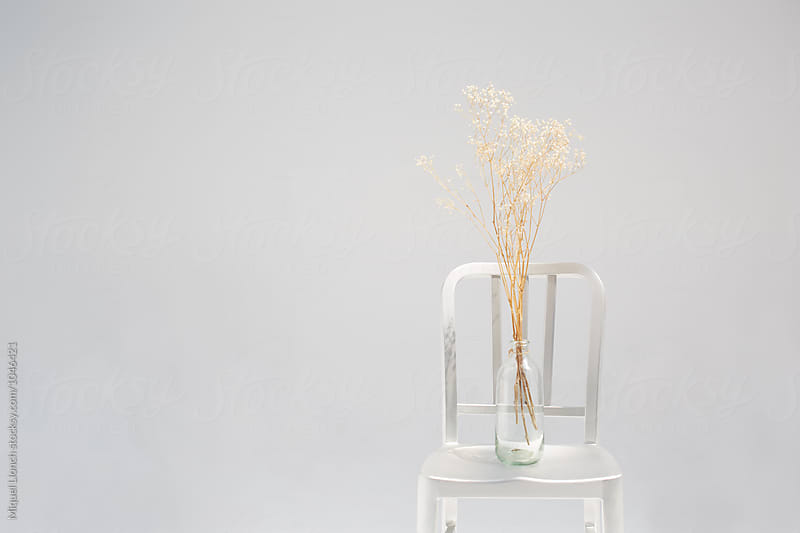 Metallic chair with dry flowers in a bottle by Miquel Llonch for Stocksy United