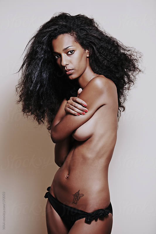 Attractive Young Black Woman Wearing Underwear by WAA for Stocksy United