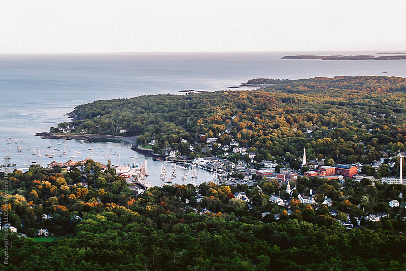 Aerial View of Camden, Maine  by Raymond Forbes LLC for Stocksy United