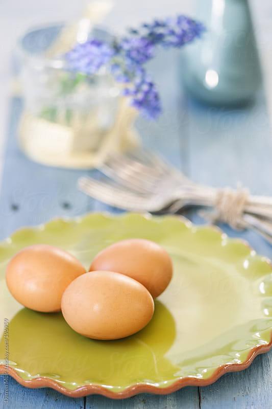 Three hens eggs. by Darren Muir for Stocksy United