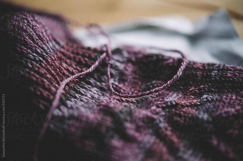 purple sock in progress by Samantha Wesselhoft for Stocksy United