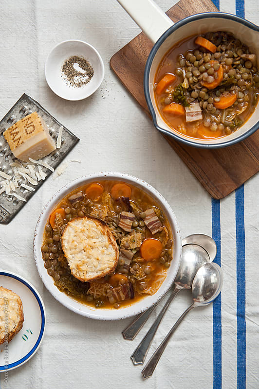 Pancetta lentil soup by Veronika Studer for Stocksy United