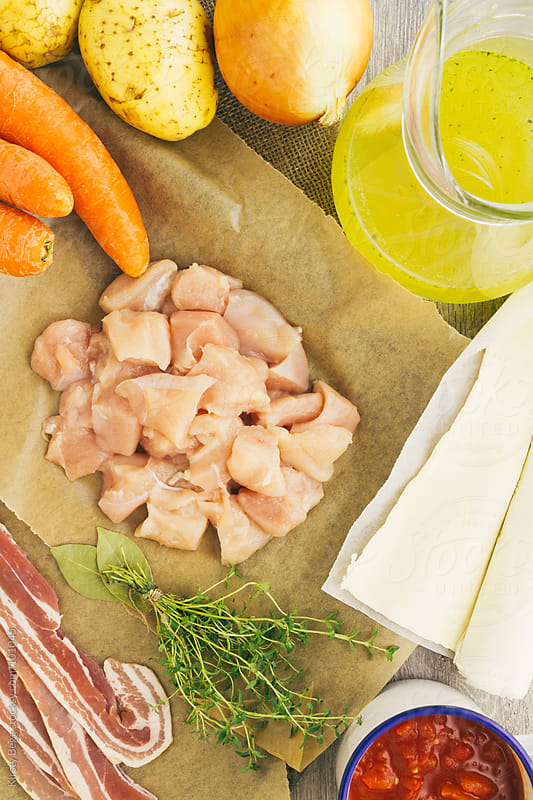 Ingredients for chicken pie, overhead by Kirsty Begg for Stocksy United
