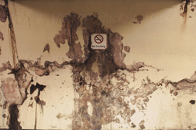 Grunge background of wall with water damages and peeling paint by Per Swantesson for Stocksy United