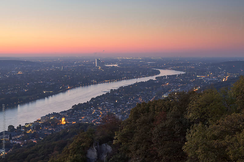 The River Rhine at Twilight. Taken near Bonn, Germany. by Tom Uhlenberg for Stocksy United
