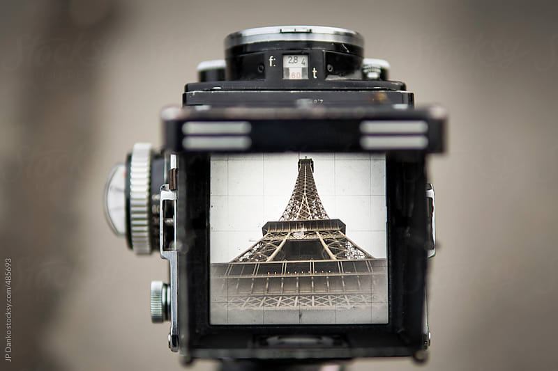 Vintage Film Medium Format Camera Photographing the Eiffel Tower Paris by JP Danko for Stocksy United