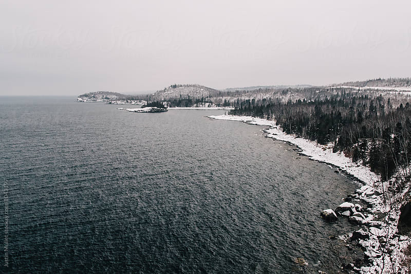 Wide angle view of Lake Superior in Minnesota.  by Justin Mullet for Stocksy United