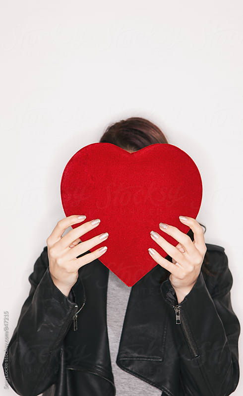 Valentine: Woman Hides Behind Velvet Candy Box by Sean Locke for Stocksy United