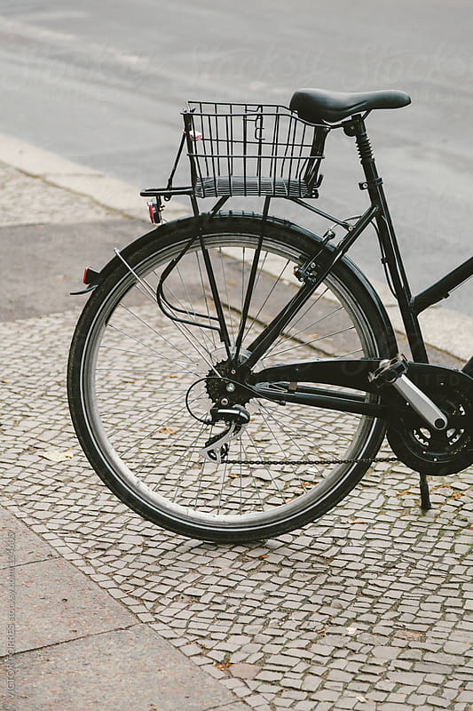 Detail of Urban Bicycle Parked in the Streets of Berlin by VICTOR TORRES for Stocksy United