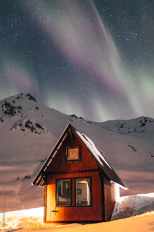 Winter Solstice Aurora Cabin Adventures in Hatcher Pass by Jake Elko for Stocksy United