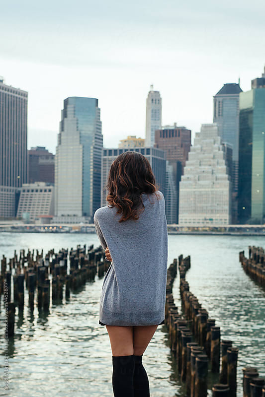 Woman enjoying the view of Manhattan at Sunset by Good Vibrations Images for Stocksy United