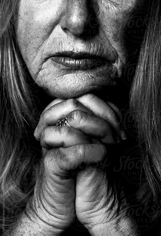 Senior Woman Portrait in Black and White with Hand by Jeff Wasserman for Stocksy United