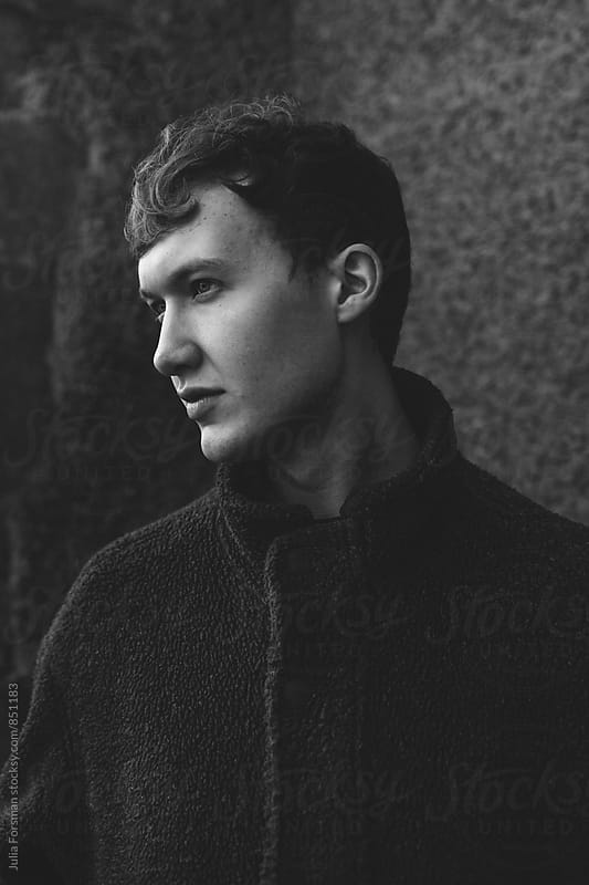 Black and white profile portrait of handsome man. by Julia Forsman for Stocksy United