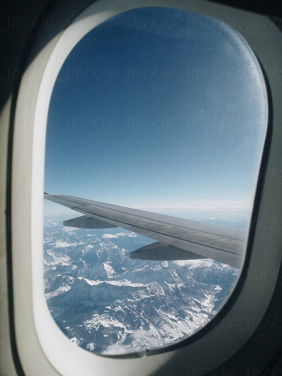 Aircraft Window View To Alpes By Anna Malgina Alp Airplane