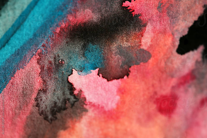 Close Up Of A Pink, Blue And Black Watercolor Painting by ALICIA BOCK for Stocksy United