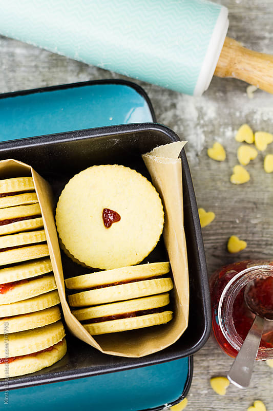 Jammie Dodgers in tin by Kirsty Begg for Stocksy United