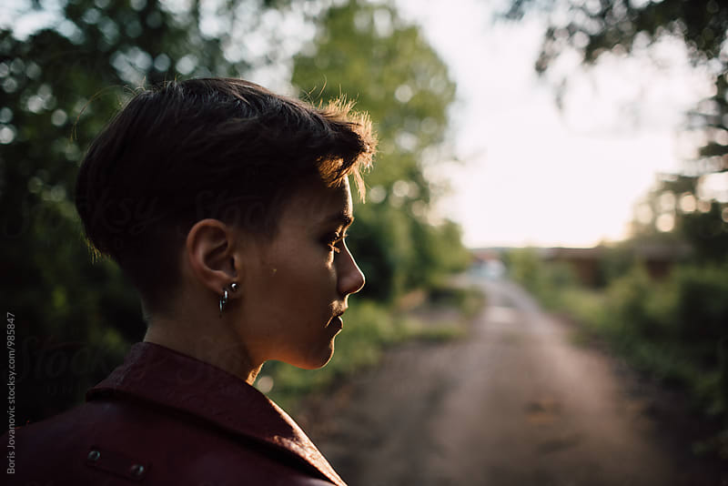 Portrait of beautiful shorthair woman in the nature  by Boris Jovanovic for Stocksy United
