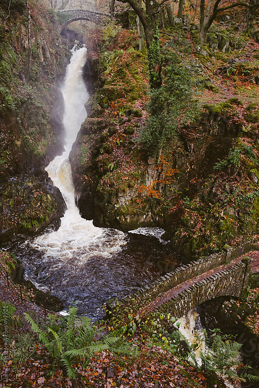 Aira Force waterfall in autumn.  by Liam Grant for Stocksy United