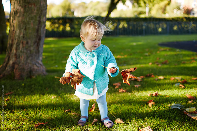 Little girl collecting Autumn leaves by sally anscombe for Stocksy United