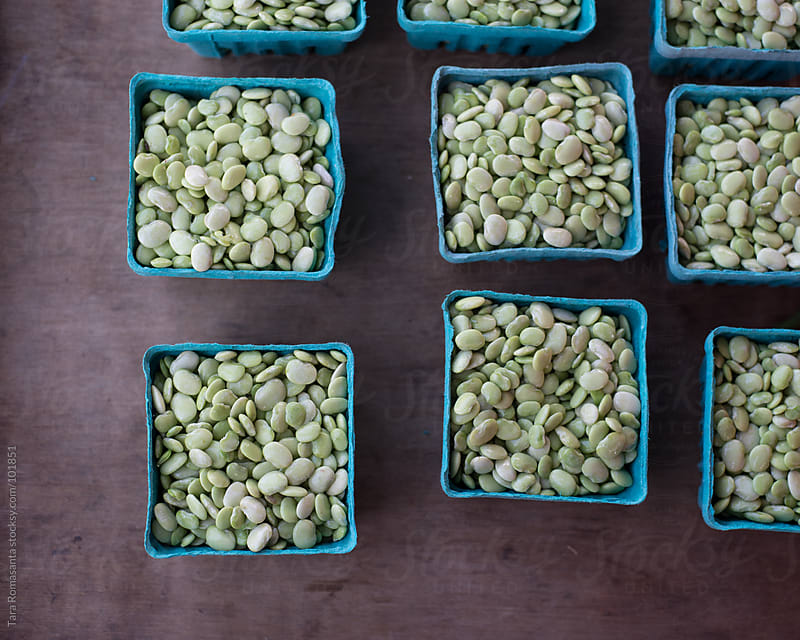 lima beans in aqua boxes at the farmer's market by Tara Romasanta for Stocksy United
