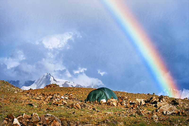 Tourist tent in mountains by Ilya for Stocksy United