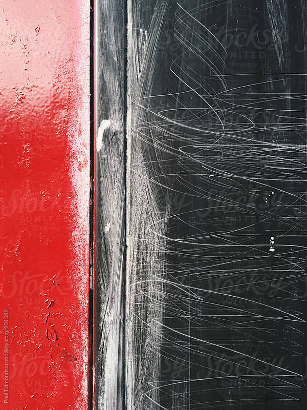 Scratch marks on metal surface, close up by Paul Edmondson for Stocksy United