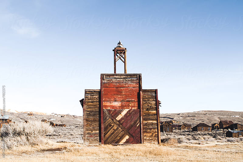 Water Tower in Creepy Ghost Town from the Gold Rush by MEGHAN PINSONNEAULT for Stocksy United