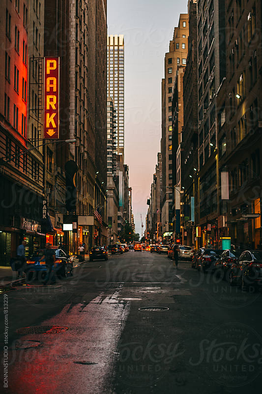New York street at night. by BONNINSTUDIO for Stocksy United