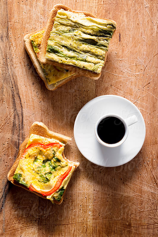Toast with Sheet Pan Eggs with Coffee by Studio Six for Stocksy United