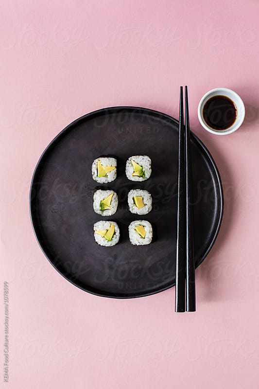 Avocado sushi makis  by KEMA Food Culture for Stocksy United