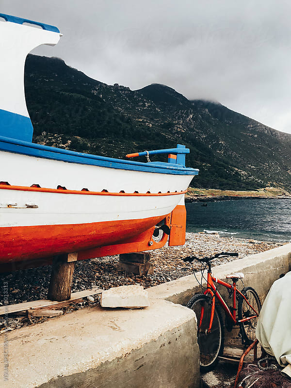 Detail of Wooden Boat in Mediterranean Seaside Port by Julien L. Balmer for Stocksy United