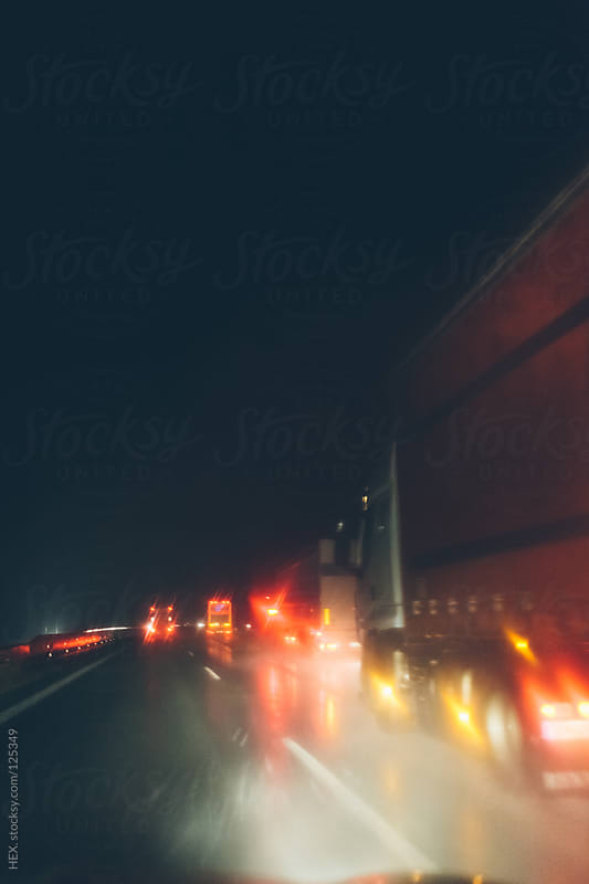 Driving with Rain in a Highway by HEX. for Stocksy United