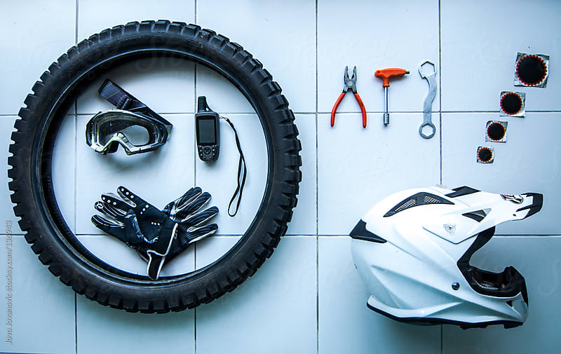 Motorbike equipment from above. by Jovo Jovanovic for Stocksy United