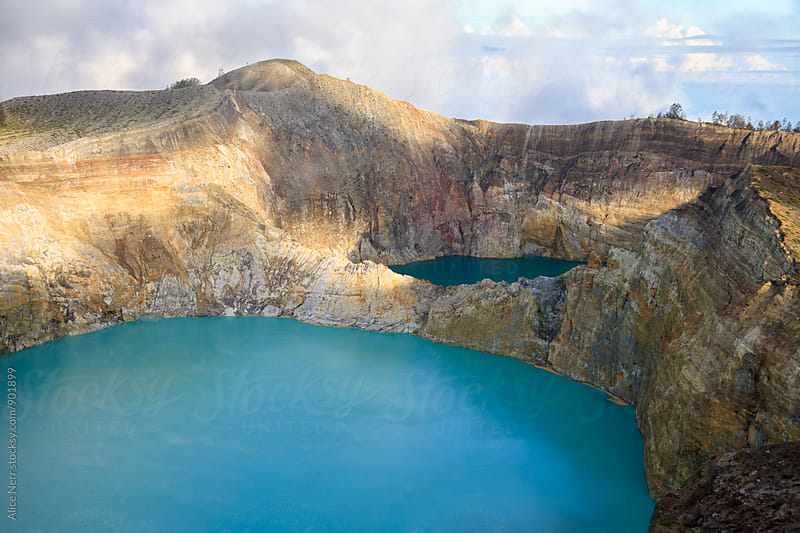 Aerial view to craters with colorful lakes of Kelimutu volcano by Alice Nerr for Stocksy United