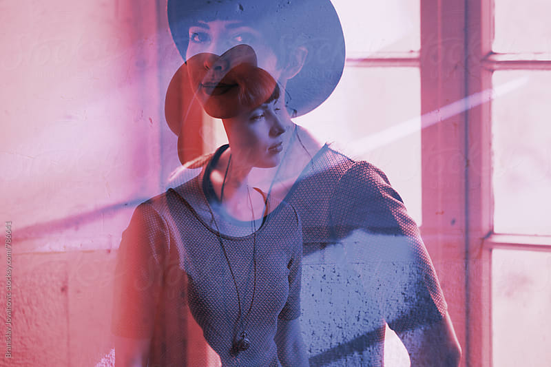 Stylish Woman with Hat Double Exposure by Branislav Jovanović for Stocksy United