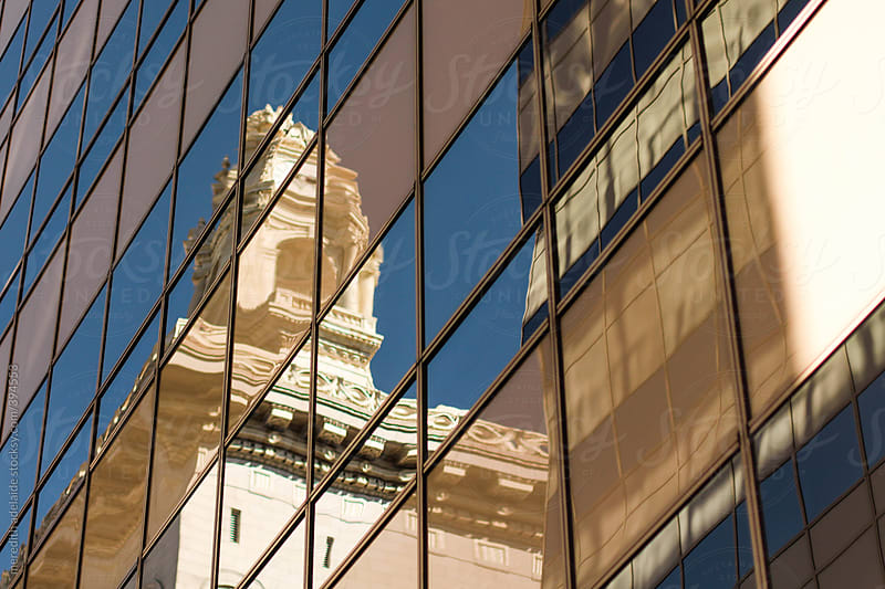 Reflection of Building in Glass by meredith adelaide for Stocksy United