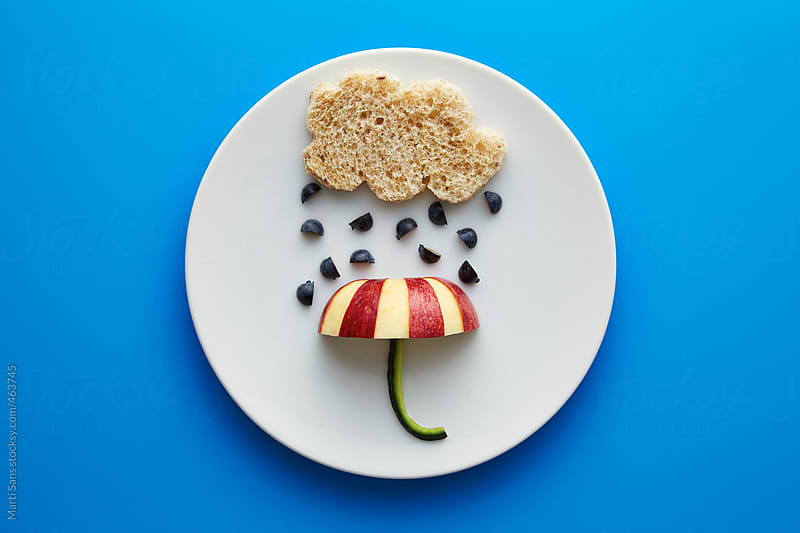 Food for kids - funny cloud and umbrella by Martí Sans for Stocksy United