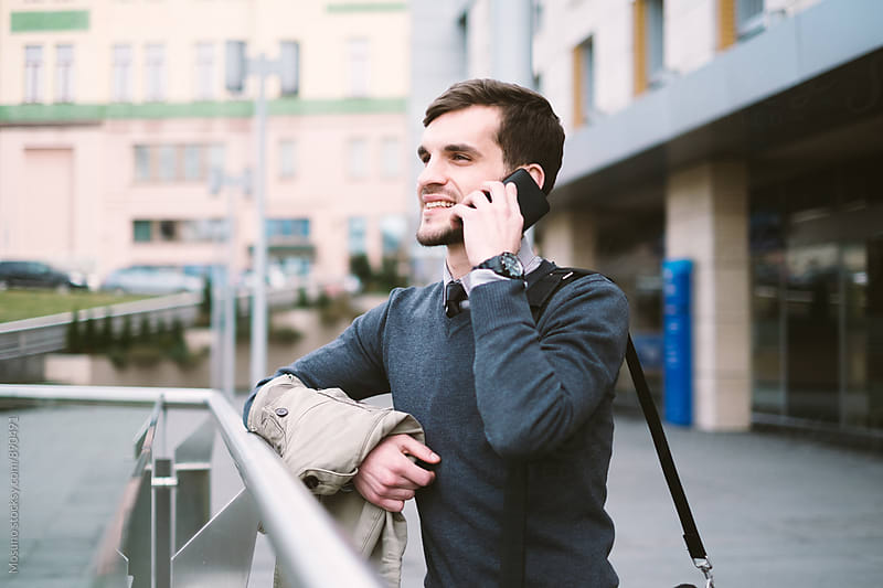 Young Businessman Talking on the Phone by Mosuno for Stocksy United