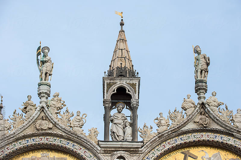 Detail of the main facade of the cathedral of Saint Mark in Venice by Bisual Studio for Stocksy United