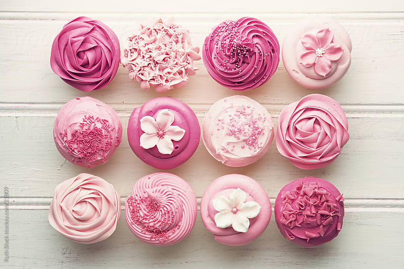 Pink cupcakes, overhead view by Ruth Black for Stocksy United