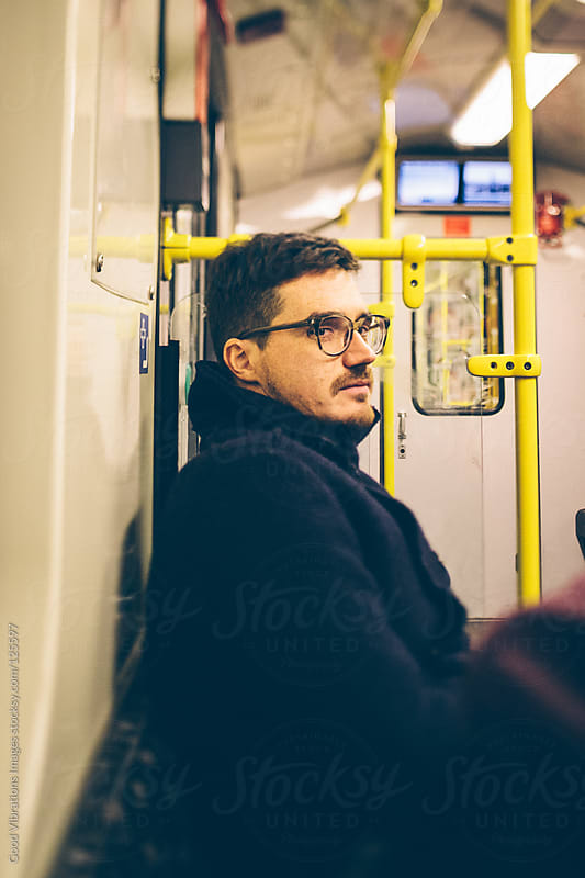 Man in a train by Good Vibrations Images for Stocksy United