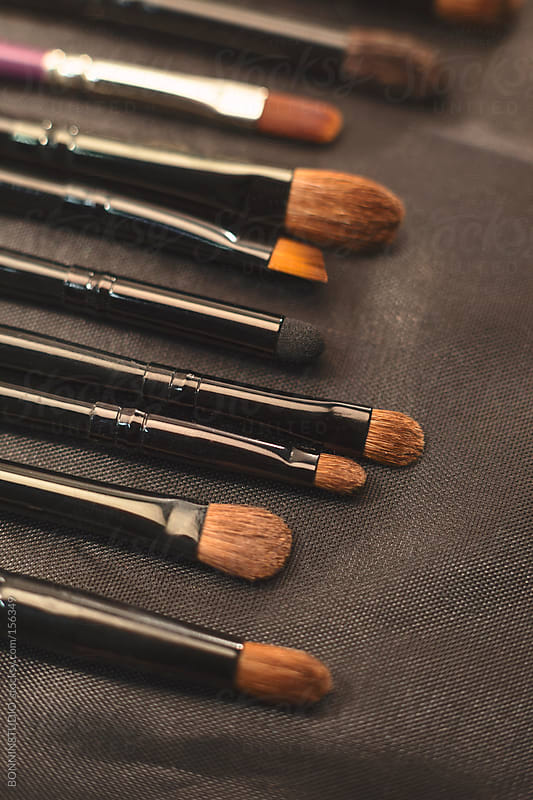 Close up of makeup brushes set. by BONNINSTUDIO for Stocksy United