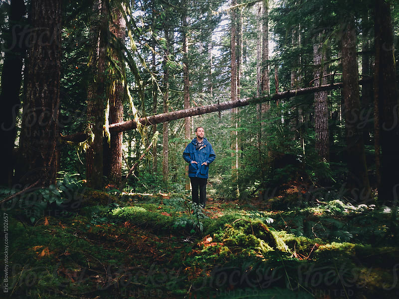 Man Contemplates In The Forest by Eric Bowley for Stocksy United