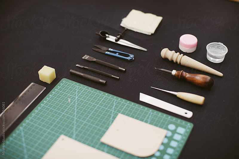 Tools for handmade leather bags  by Maa Hoo for Stocksy United